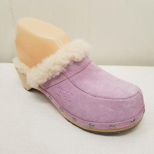 UGG Kalie 6 Clogs Mules Pink Leather Sheepskin Fur